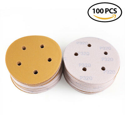 5in-5hole 320Grit Dustless Sheet Hook Loop Sanding Disc Orbital Sander Sandpaper