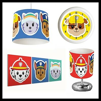 PAW PATROL (476) - Boys Bedroom - Lampshade, Lamp, Clock & Pictures
