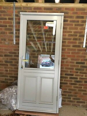 Brand New Grey Green Wooden External Front Door And Frame