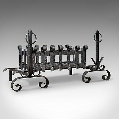 Antique Fire Basket on Andirons, Fire Dogs, English, Fireplace Grate c.1900