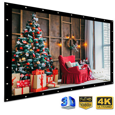84'' Electric Motorized HD Projector Projection Screen 4:3 Home Cinema Theater