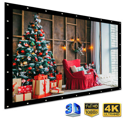 100'' Electric Motorized HD Projector Projection Screen 4:3 Home Cinema Theater