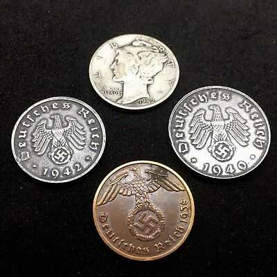 US Silver Mercury Dime & 3 Nazi Germany Zinc And Bronze Reichspfennig Coin Lot