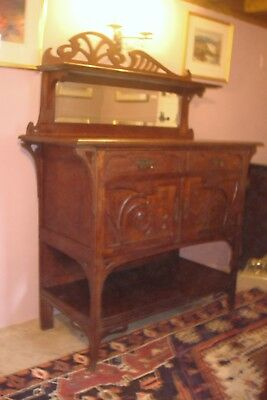 Miniature Art Nouveau Sideboard with Carved Thistle Detail in Medium Oak