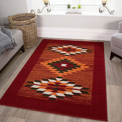 Warm Red Modern Patchwork Rugs Small Large Terracotta Damask