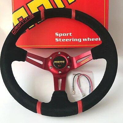 350mm Drifting Suede Leather Deep Dish Steering Wheel For OMP MOMO Hub Red Spoke