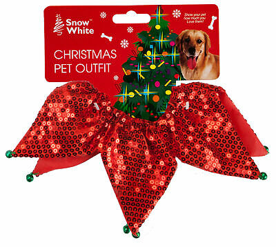 Sequin Christmas Pet Collar Scrunchie with Jingle Bell One Size Fits All Dog Cat