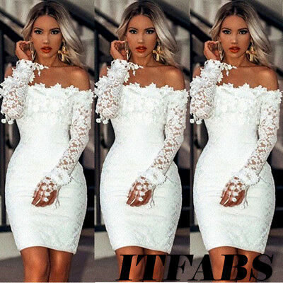Women's Off Shoulder Long Sleeve Bodycon Bridesmaid Party Evening Cocktail Dress