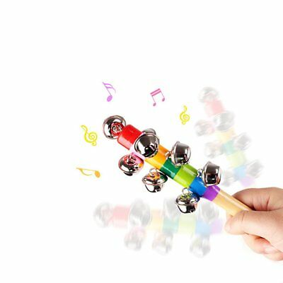 10-Bell Jingle Rainbow Shaker Stick Musical Instrument Kid Baby Funny Toy TOP GN