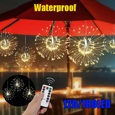 120/180 Firework LED String Light Copper Wire IP65 Waterproof Remote Fairy Decor