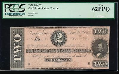 AC T-70 $2 1864 Confederate Currency CSA PCGS 62 PPQ uncirculated!