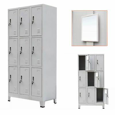 Storage Filing Locker Cabinet with 9 Compartments Office Furniture Steel Grey UK