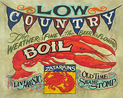 Low Country Boil  Print NC art decor vintage  style shrimp oyster crawfish
