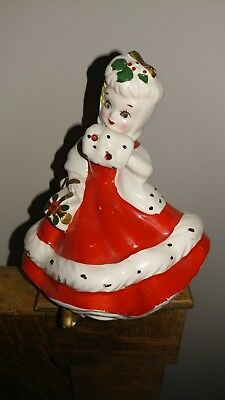 Lefton Christmas Holly Figurine With Stones