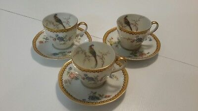 Theodore Haviland Limoges France Eden chocolate cups & saucers RARE set of 3