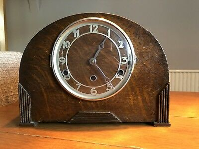 Art Deco Style Bravingtons Westminster Chiming Mantle Clock