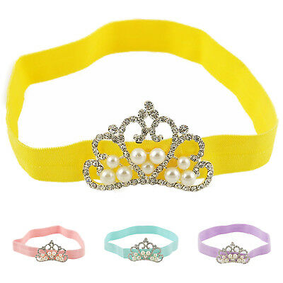 1Pc Baby Kids Infant Toddler Girl Princess Crown Pearl Headband Hairband H B4N6)