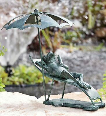 Frog on Beach Chair Cast Iron Outdoor Garden Statue