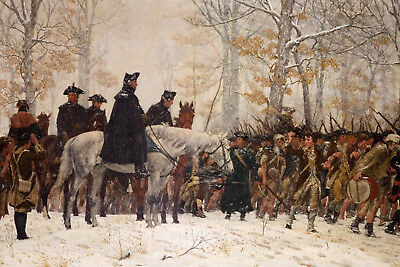 Large George Washington At Valley Forge Revolution War Real Canvas Art Print