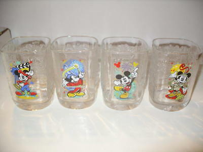Four 2000 McDonalds Millennium Celebration Square Mickey Mouse Tumblers!