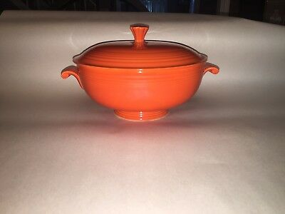 Vintage Fiesta Fiestaware Covered Casserole Dish In Red 1950's Mint