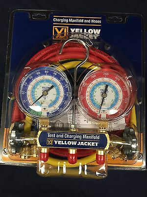 "YELLOW JACKET R22/134A/404A MANIFOLD 3-1/8"" GAUGES w/ 60"" PLUS II HOSES  42006"