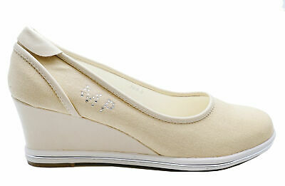 Womens Beige Slip-On Trainer Wedges Canvas Platform Shoes Pumps Sizes Uk 3-8
