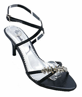 3fdcfd91c43f Womens Black Wedding Strappy Prom Bridesmaid Diamante Sandals Shoes Sizes 3- 8