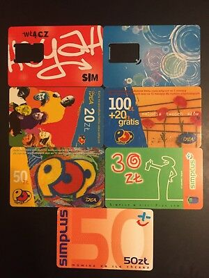 7 SIM & prepaid cards Spain and Polish phonecards old set free shipping