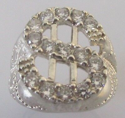 Secondhand 925 sterling silver multi cubic zirconia dollar sign ring size Q 1/2