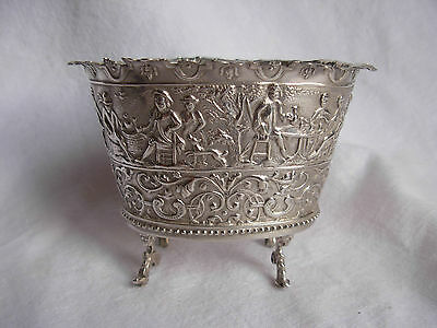 Antique Dutch Solid Silver Footed Container, Xix Century