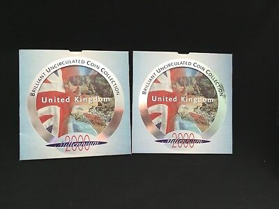 2- UK Royal Mint  Brilliant uncirculated  9 coin collection -Millennium 2000