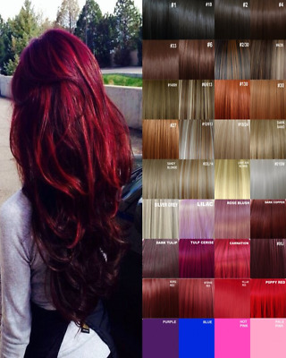 Clip in Hair Extension real Human Feel Red Black Brown White Blonde Highlight