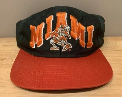 new arrival c458e cc18e Vintage Miami Hurricanes Snapback Hat Cap 90s NCAA Pro Style By Joey