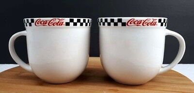 Gibson Coca Cola Mug Dinerware White Mugs with Checkered Line Lot of 2