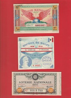 1937 Lot 5 Billets De Loterie Nationale Gueules Cassees