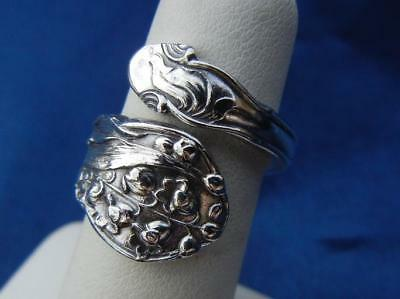 """Vtg Gorham Sterling Silver """"Lily of the Valley"""" Spoon Wrap Ring Sz 6.5 Excellent"""