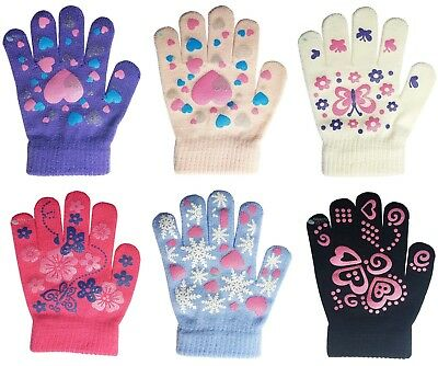 Kids Girl Magic Gloves Gripper Printed Hearts Stretchy Knitted Winter Warm (75)