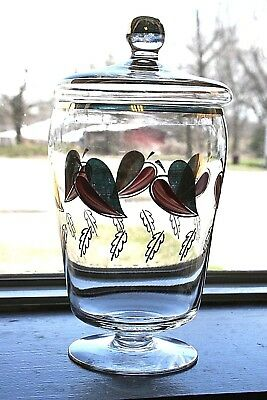 Vintage hand painted clear glass apothecary jar with lid