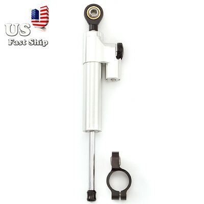 USA CNC Silver Steering Damper 6 way Adjust Stabilizer Linear For Motorcycle ATV