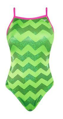 The Finals Neon Lime Green Foil Zig Zag Wingback 1pc Swimsuit 36 M