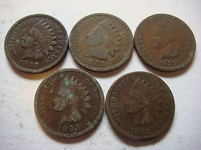 Lot of 5 Indian Head  U.S cent Coins nice old coins  #9639