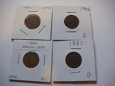 Lot of 4  Indian Head U.S cent Coins 1887, 1900, 1902, 1906, nice  #9587