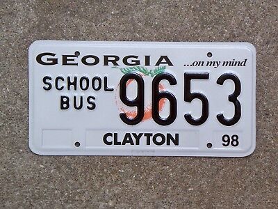 1998 Georgia SCHOOL BUS License Plate 9653 Mint New ...on my mind Base Clayton