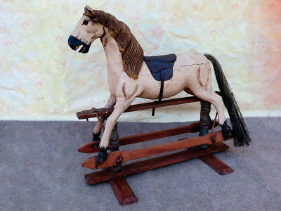 Antique Late 1800`s Decorative Wooden Carved Rocker Horse with Saddle