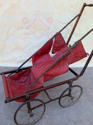 Primitive Antique Late 1800`s Baby Doll Upright Carriage Stroller Buggy Folding