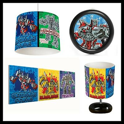 TRANSFORMERS (477) - Boys Bedroom - Lampshade, Lamp, Clock & Pictures