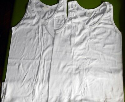 AS NEW 2x Vintage Australian Made White Poly/Cotton Singlets Tank Tops 20 105cm