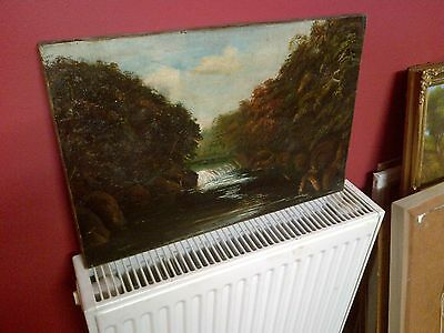 Fine Late 19th c,English School Oil on Canvas. River and Waterfall Study.