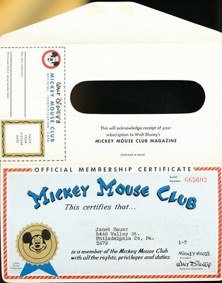 DISNEY- Mickey Mouse Club Mag.membership certificate and mailer -1950s